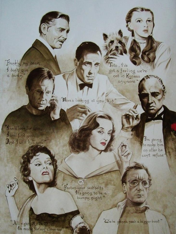 Clark Gable, Judy Garland, Humphrey Bogart, Liam Neeson, Marlon Brando, Bette Davis, Gloria Swanson, Roy Scheider par Tom-Heyburn